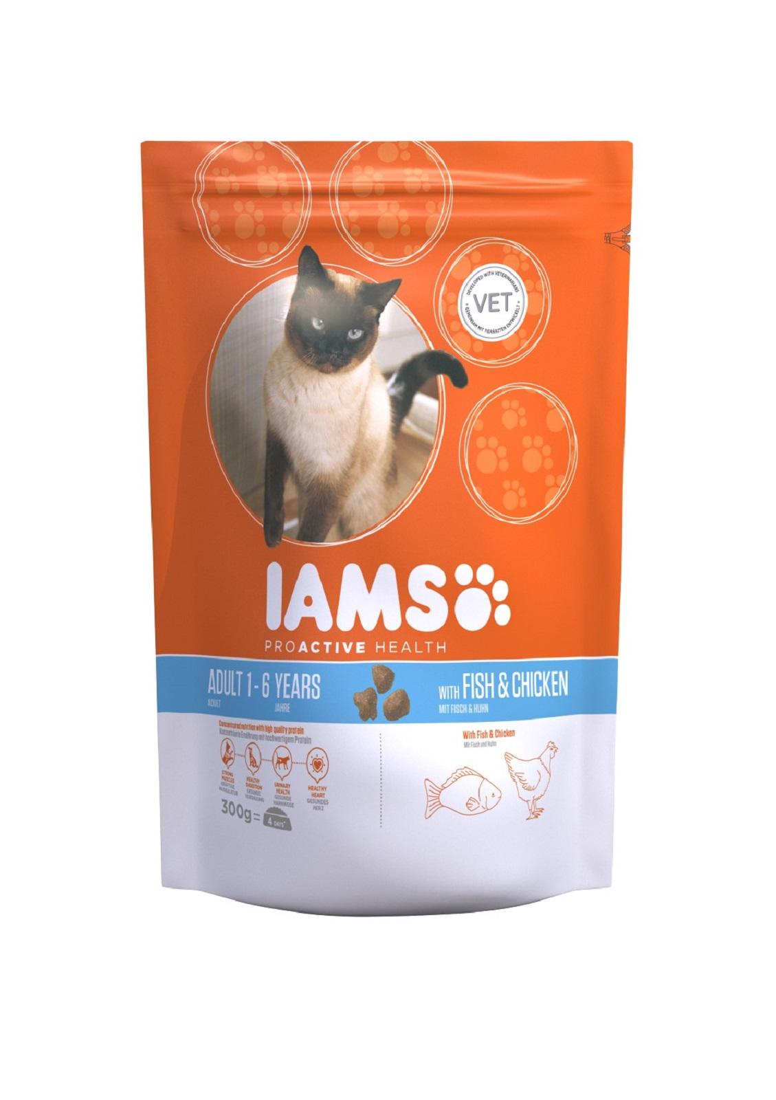 IAMS  Katzenfutter Erwachsen Trockenfutter Fisch & Huhn 300 g
