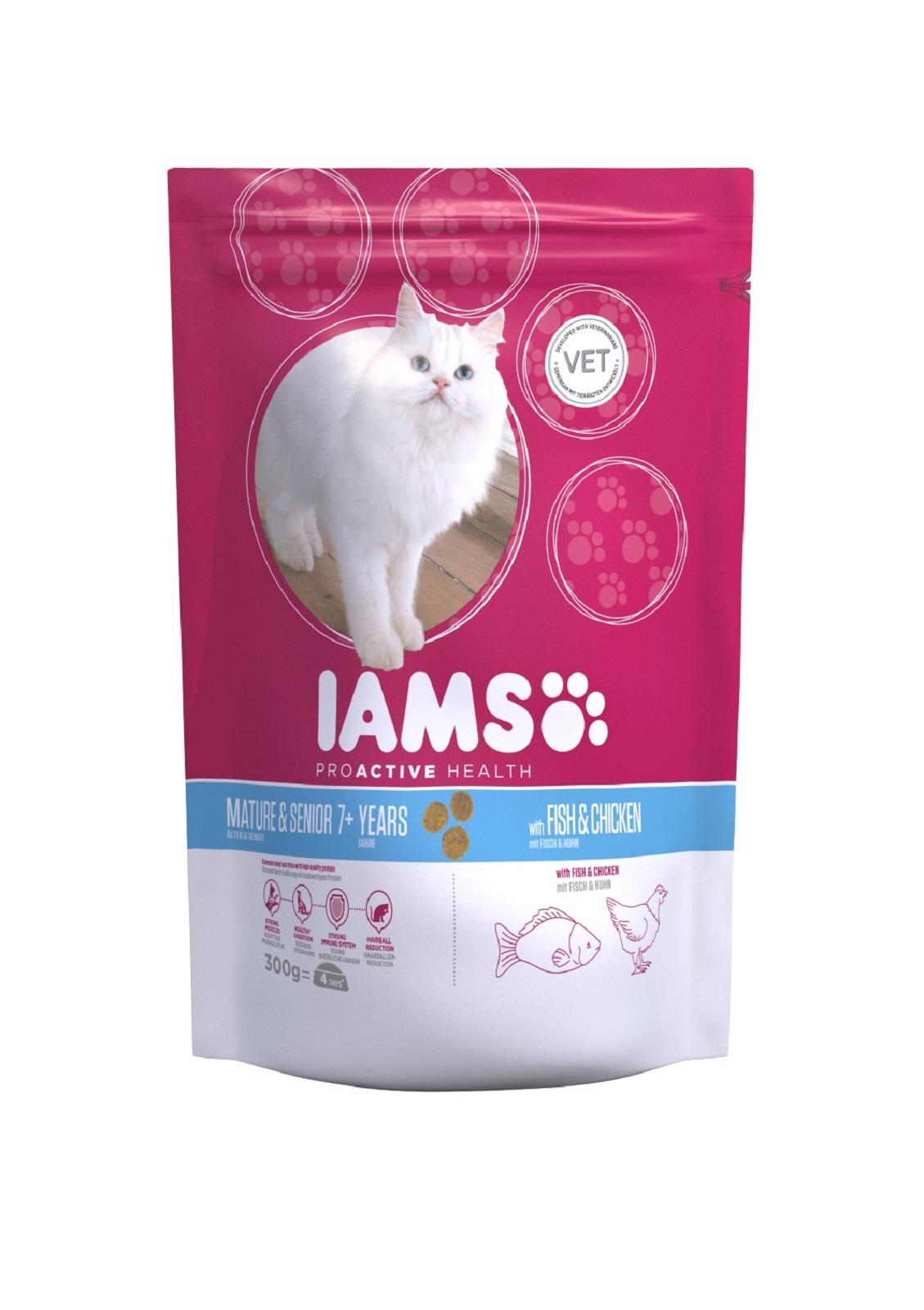 IAMS  Katzenfutter Senior Trockenfutter Fisch & Huhn 300 g