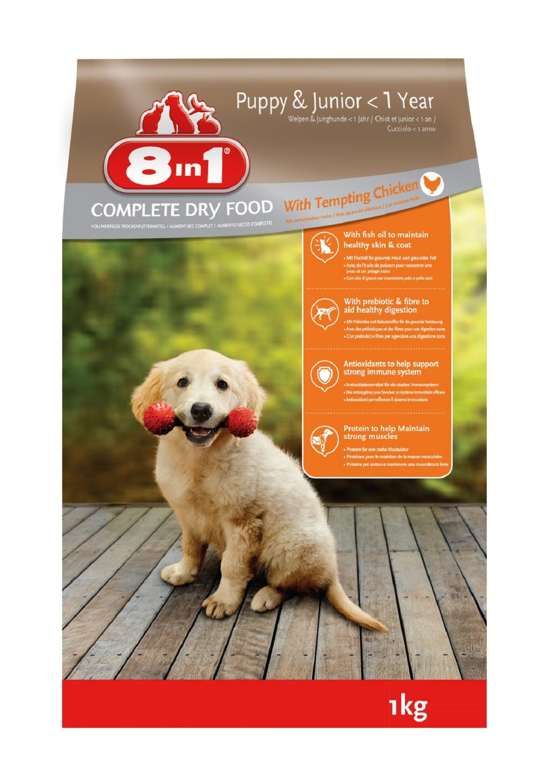 8in1 Hundefutter Trockenfutter  für  Hunde  Junior  Huhn 1 kg