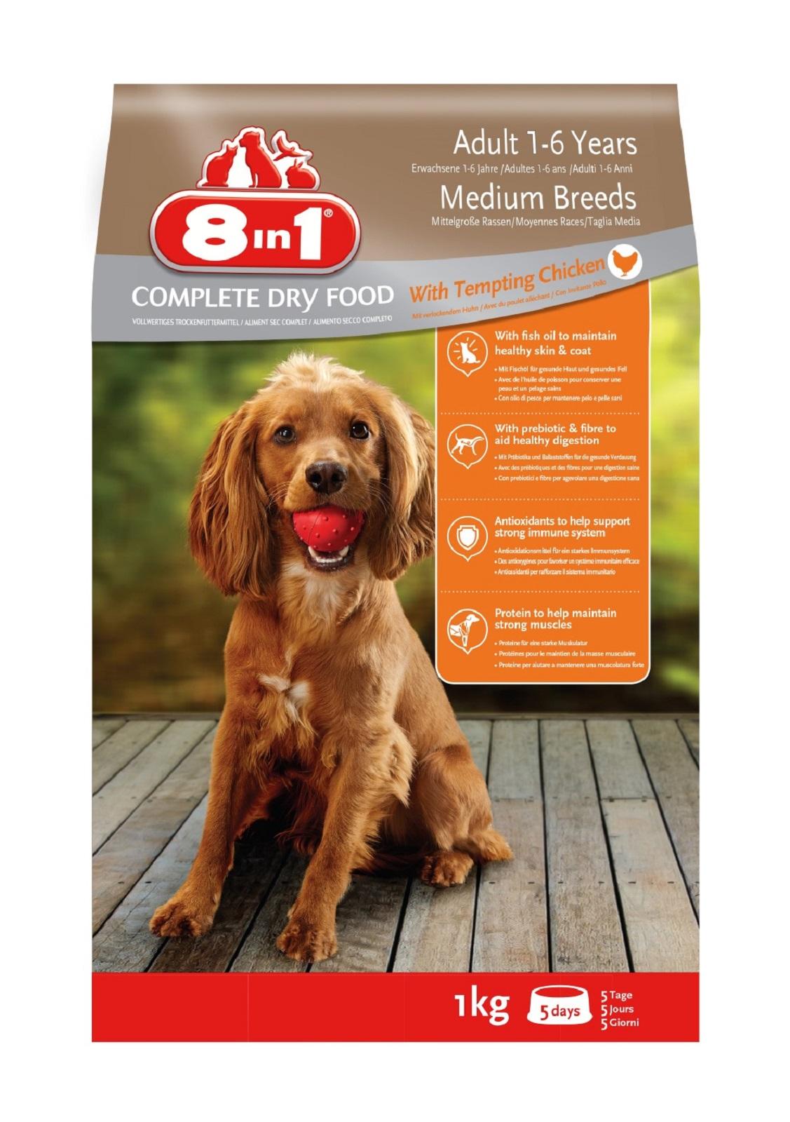 8in1 Hundefutter Hund Erwachsen Mittel Trockenfutter  Huhn 1  kg