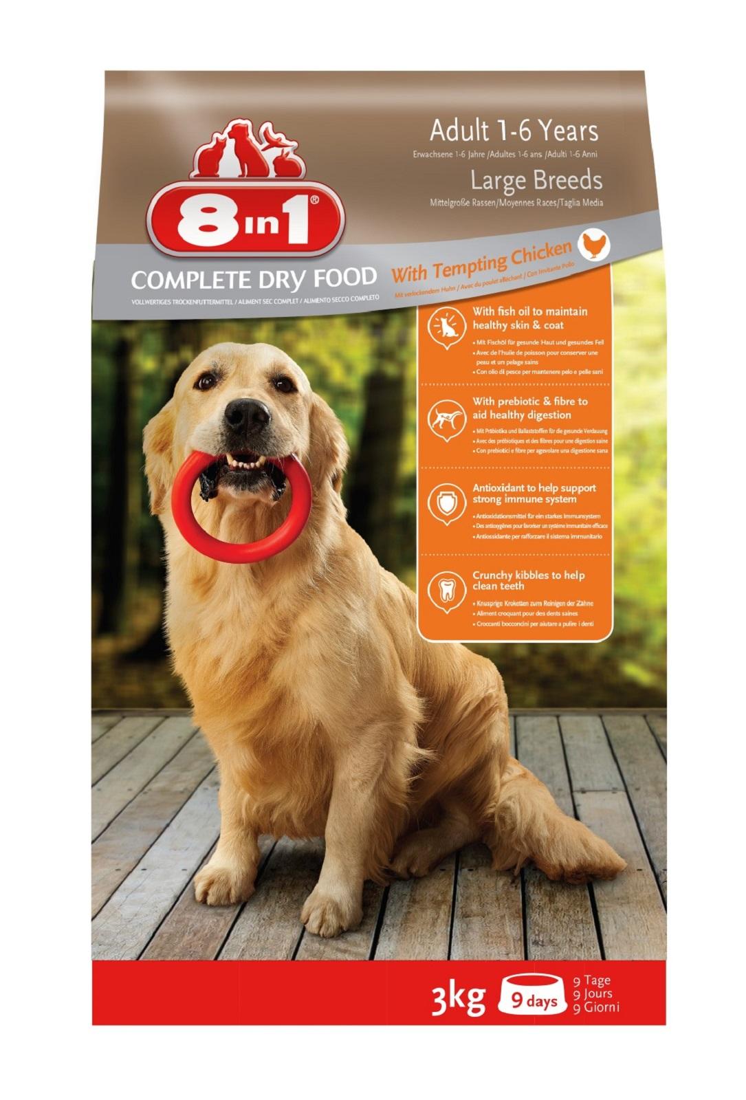 8in1 Hundefutter Trockenfutter  für erwachsene Hunde Huhn 3 kg