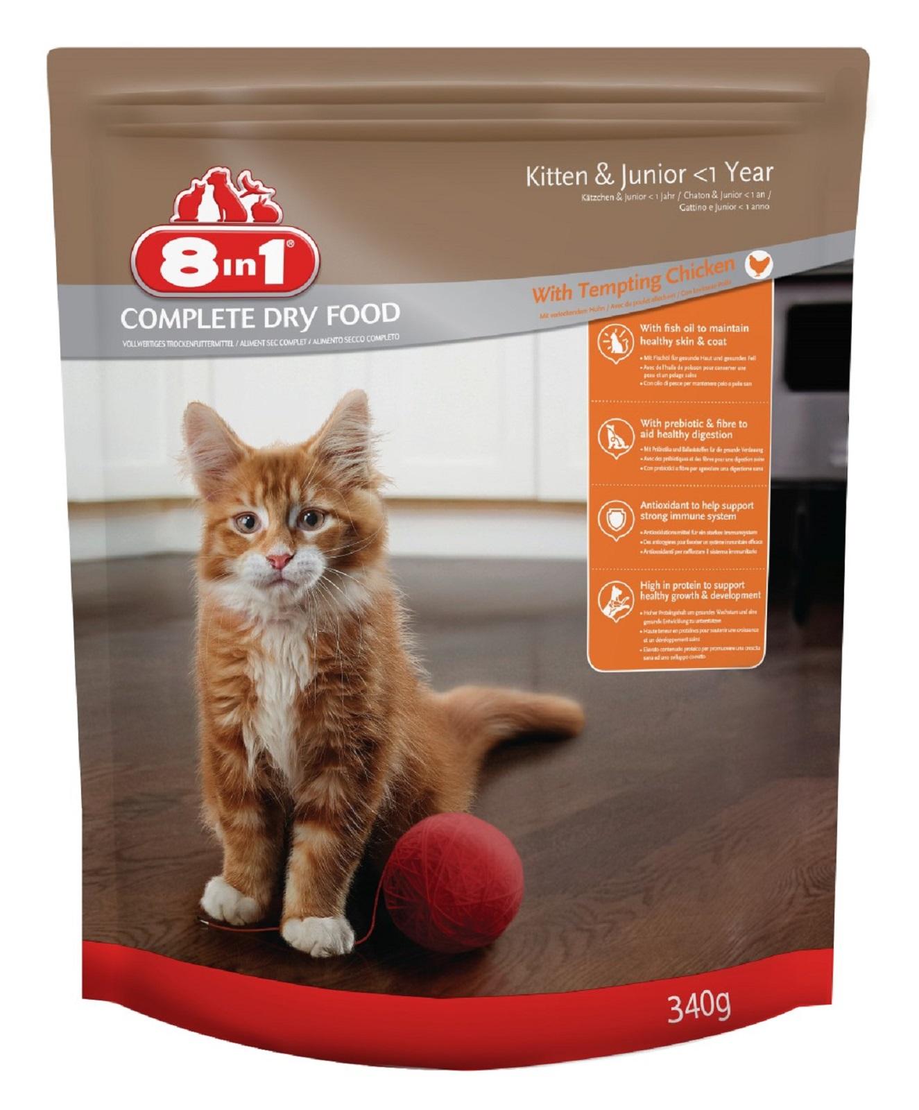 8in1 Katzenfutter Trockenfutter  für  Katzen Junior   Huhn 340 g