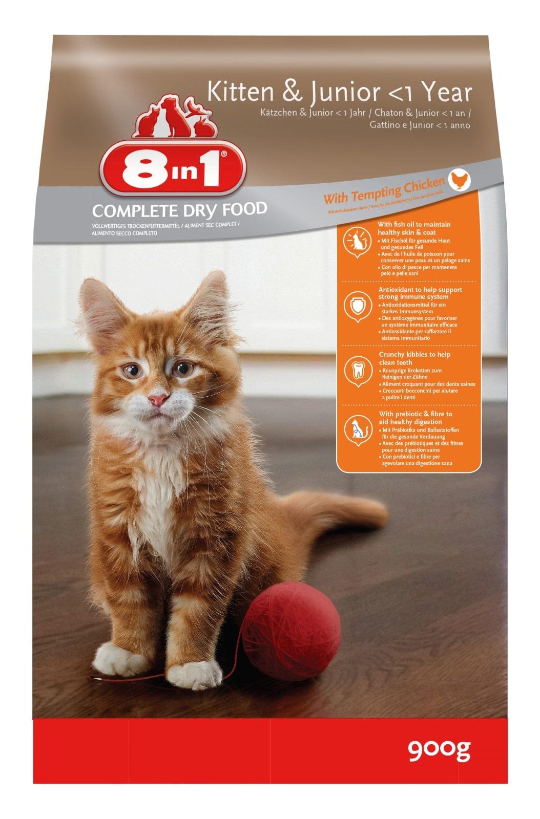8in1 Katzenfutter Trockenfutter  für Katzen Junior Huhn 900 g