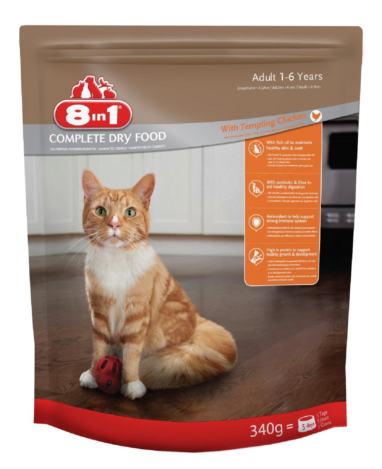 8in1 Katzenfutter Katze Erwachsen  Trockenfutter Huhn 340 g