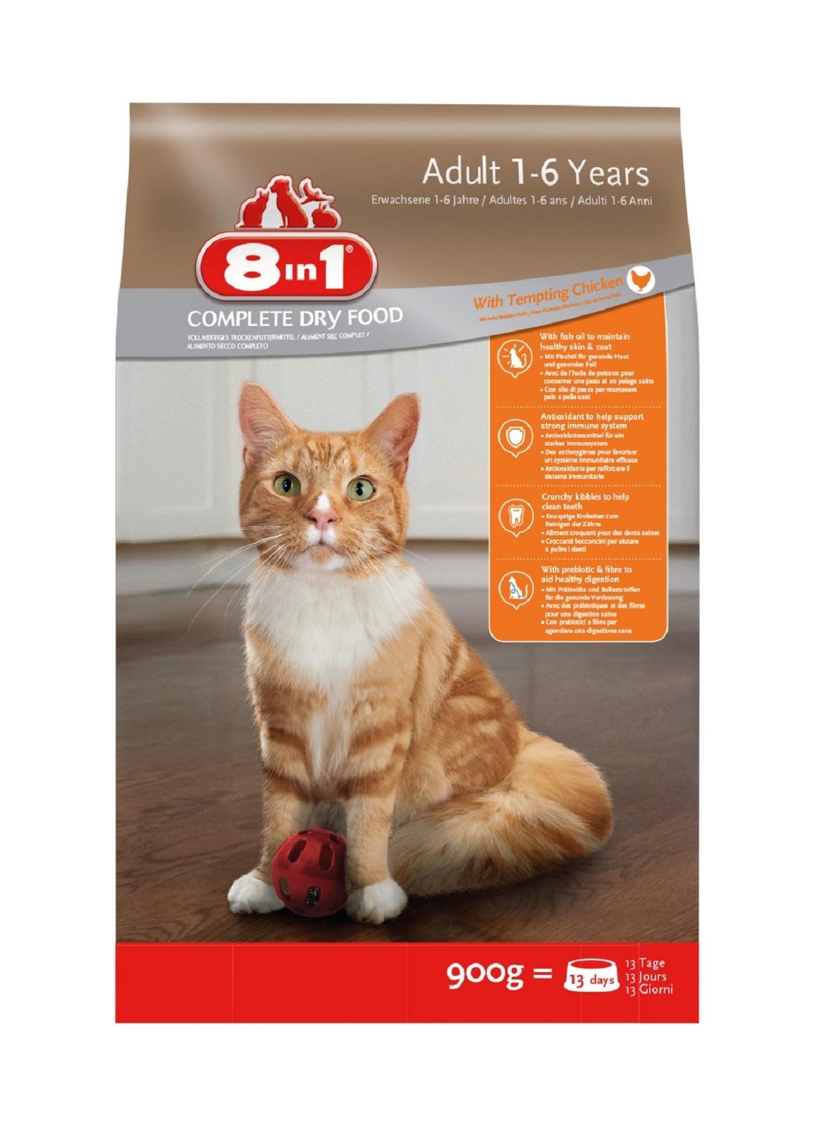 8in1 Katzenfutter Katze Erwachsen  Trockenfutter Huhn 900 g