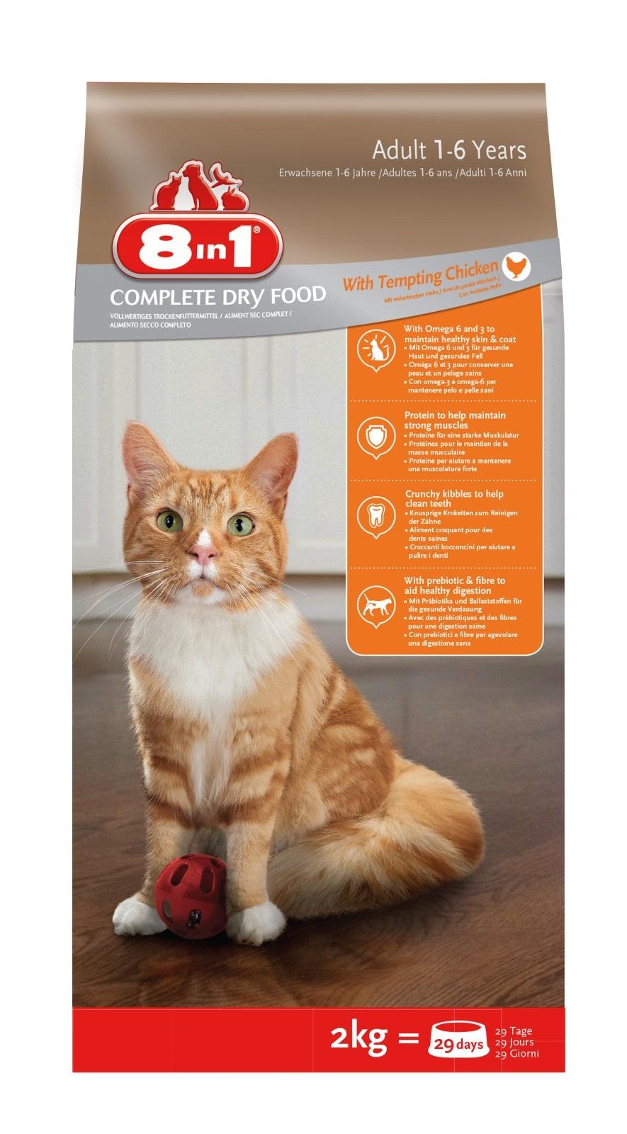 8in1 Katzenfutter Trockenfutter  für erwachsene Katzen Huhn 2 kg