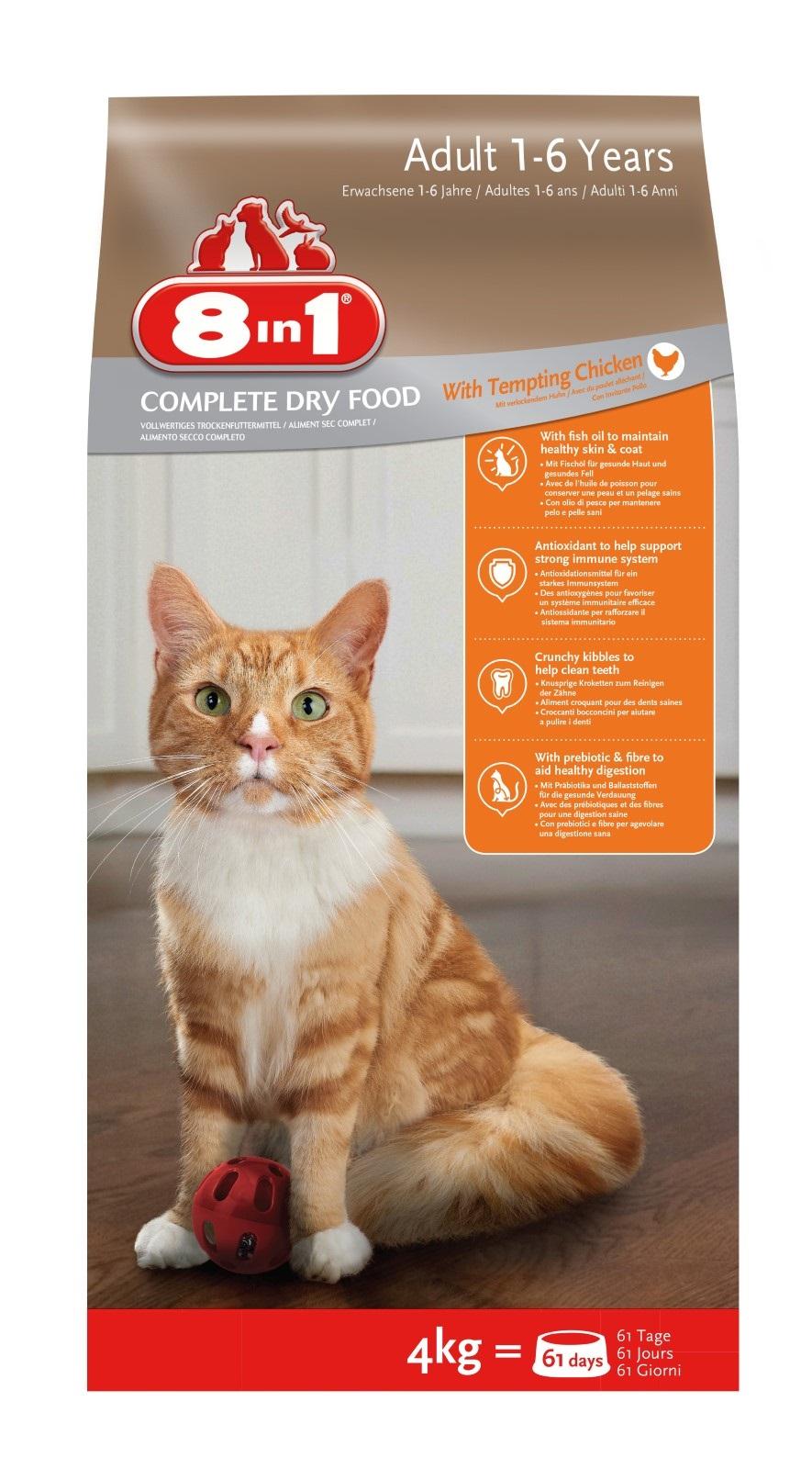 8in1 Katzenfutter Trockenfutter  für erwachsene Katzen Huhn 4 kg