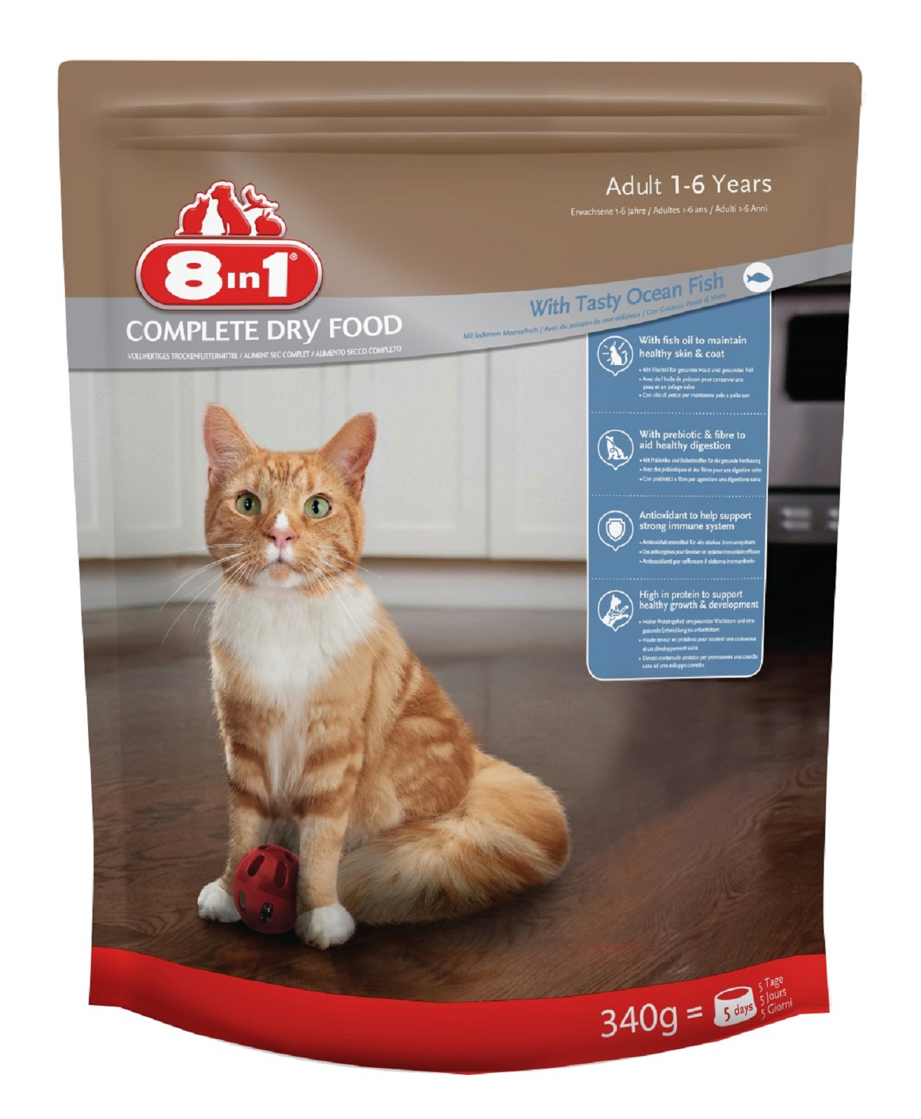 8in1 Katzenfutter Katze Erwachsen  Trockenfutter Seefisch 340 g