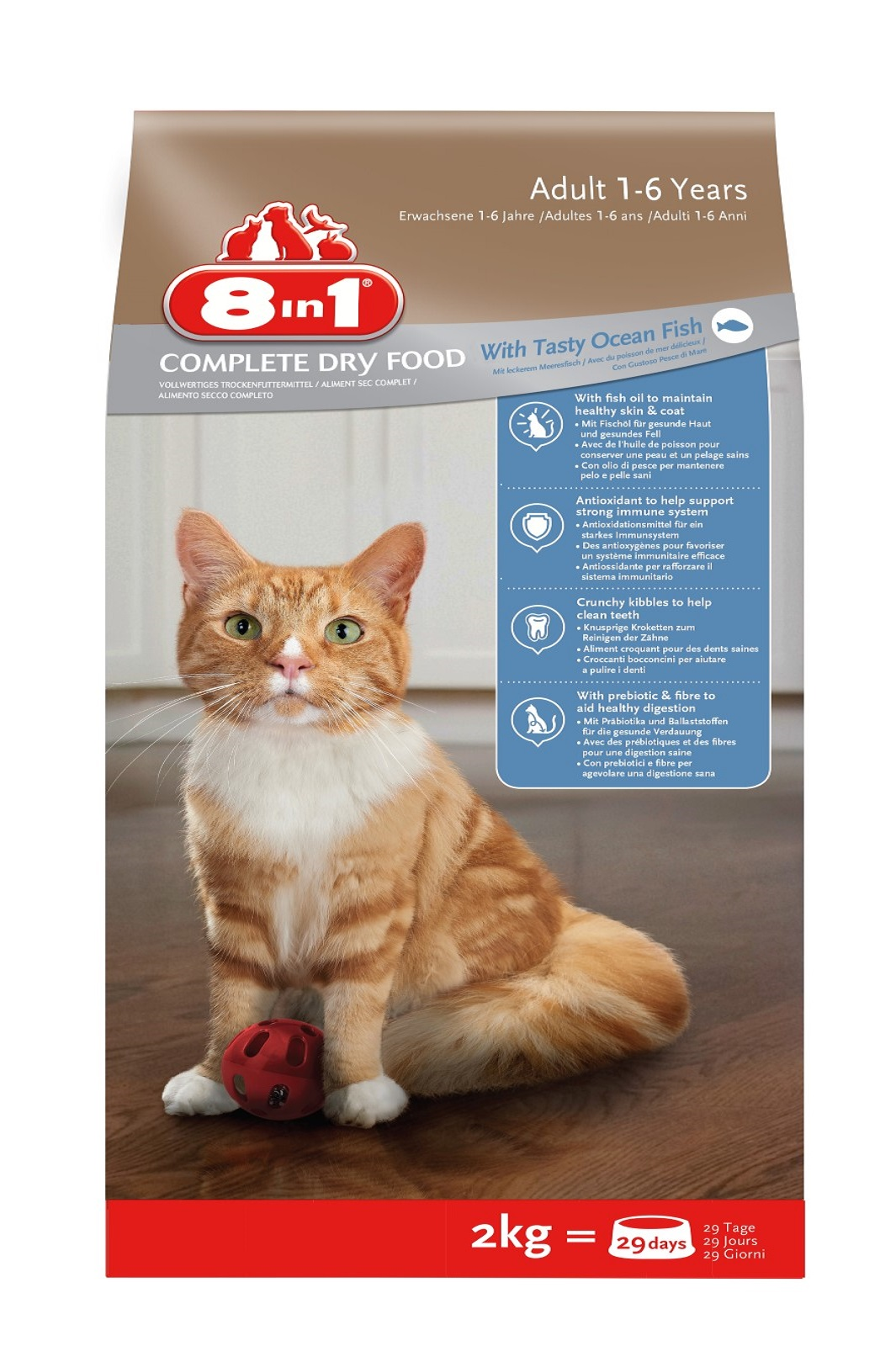 8in1 Katze Erwachsen ab 1 Jahr Seefisch Trockenfutter 2 kg