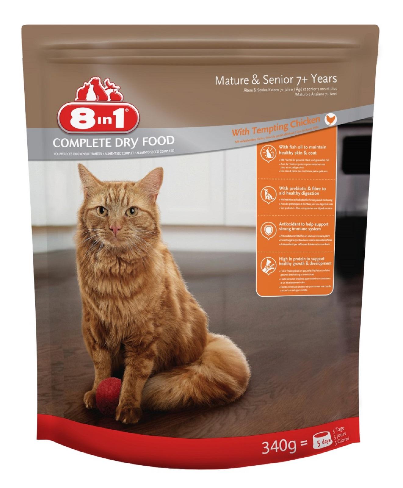 8in1 Katzenfutter Trockenfutter  für  Katzen Senior   Huhn 340 g