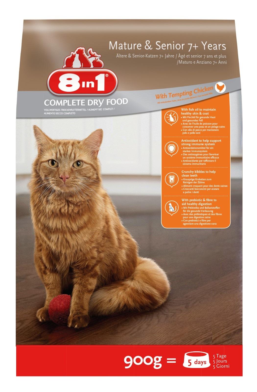 8in1 Katze Senior Trockenfutter  Huhn 900 g