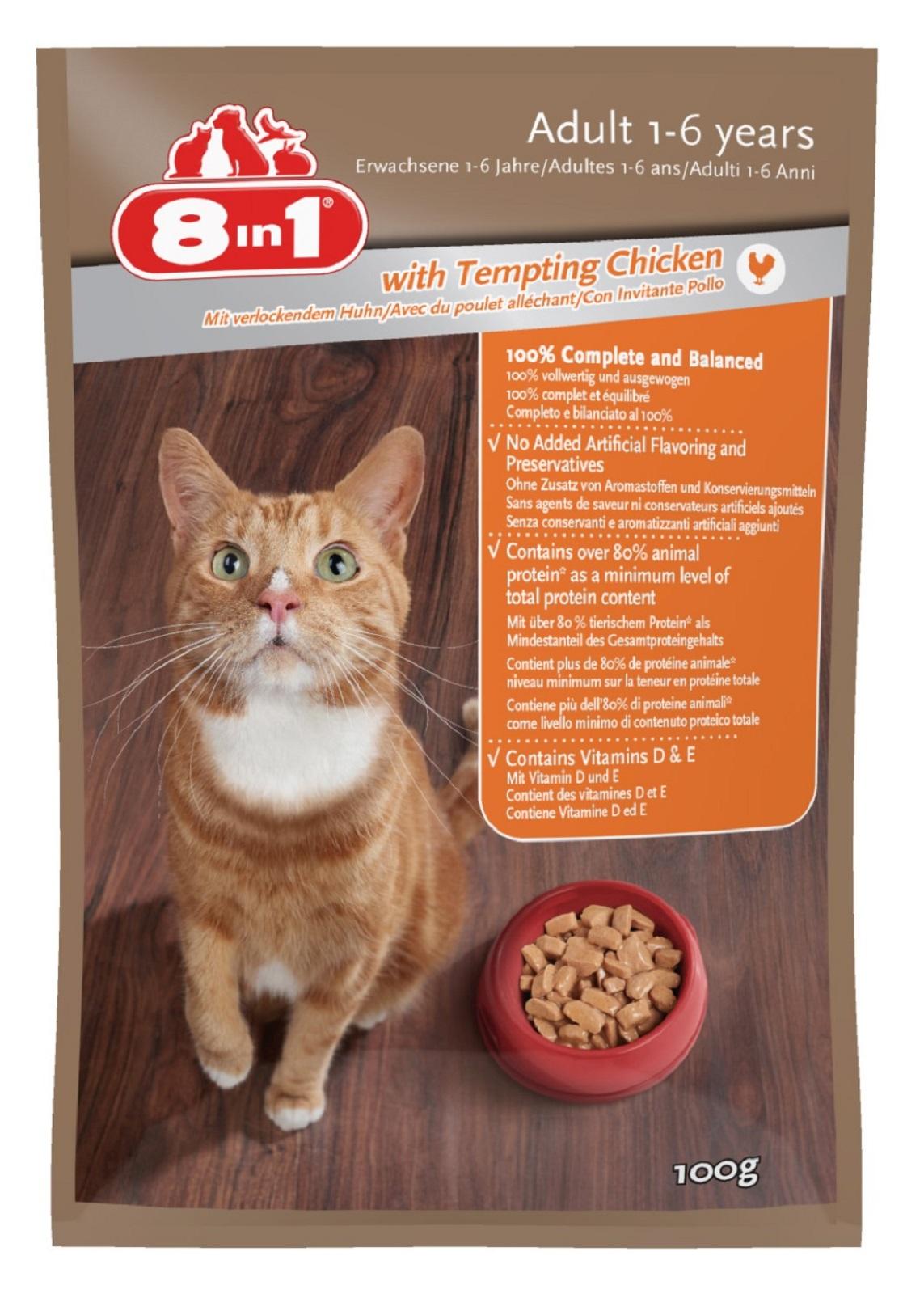 8in 1 Katzenfutter Frische im Huhn für Erwachsene Katzen100g