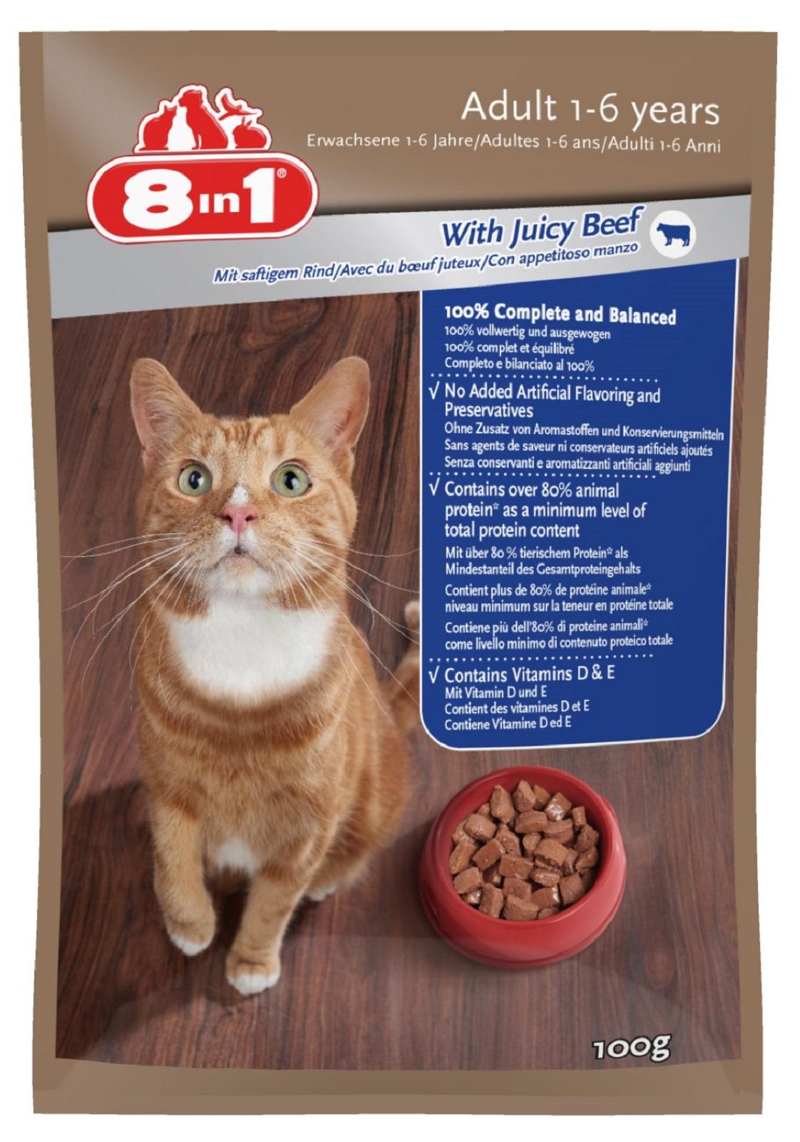 8in 1 Katzenfutter mit saftigem  Rind für Erwachsene Katzen100g