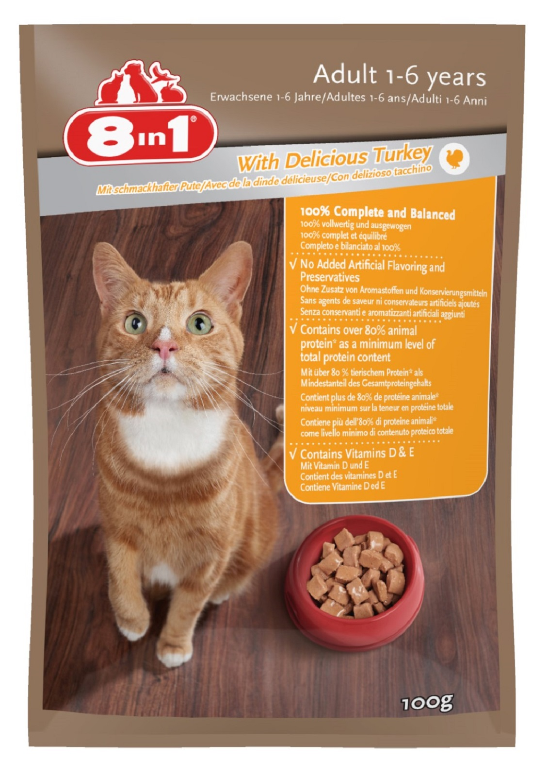 8in 1 Katzenfutter mit Truthahn für Erwachsene Katzen100g