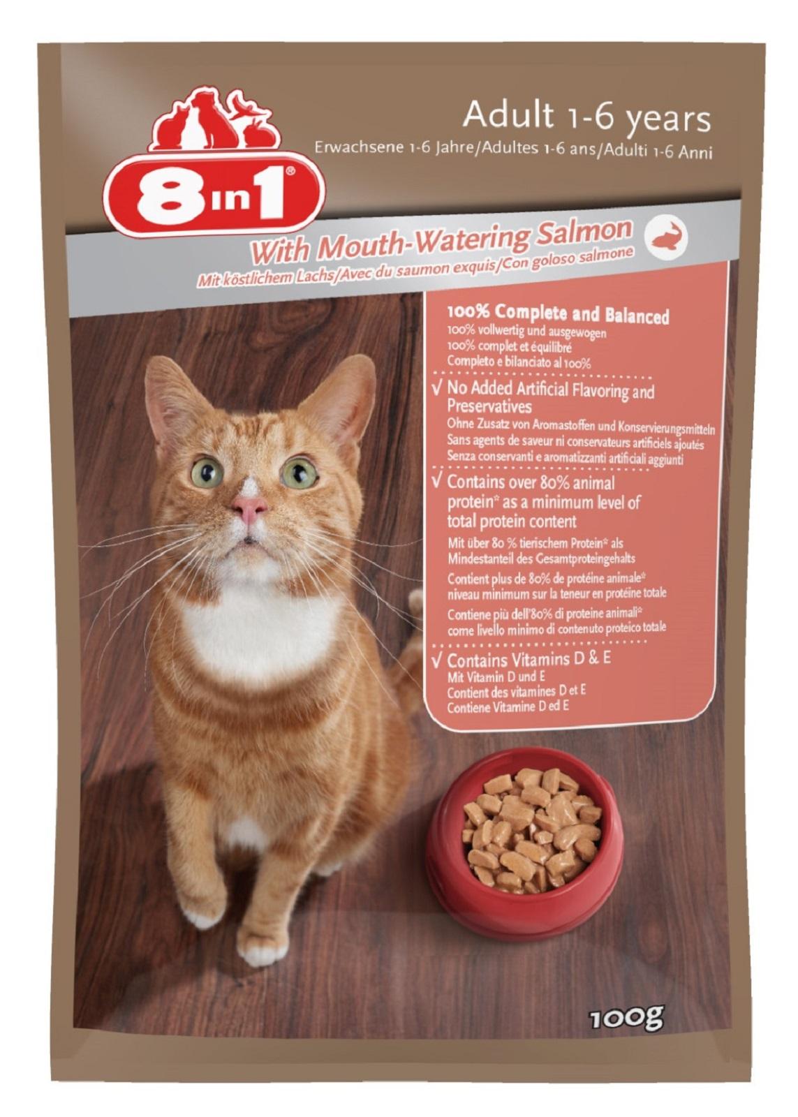 8in 1 Katzenfutter mit Lachs für Erwachsene Katzen100g