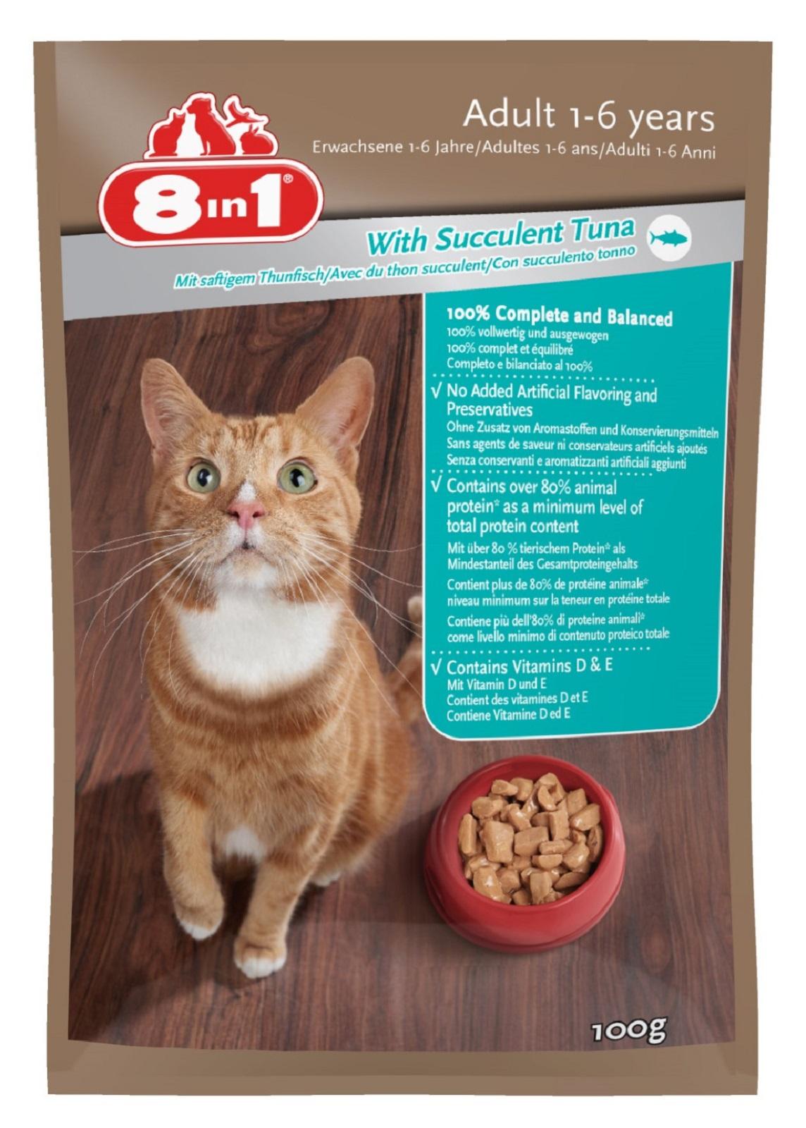 8in 1 Katzenfutter mit Thunfisch für Erwachsene Katzen100g