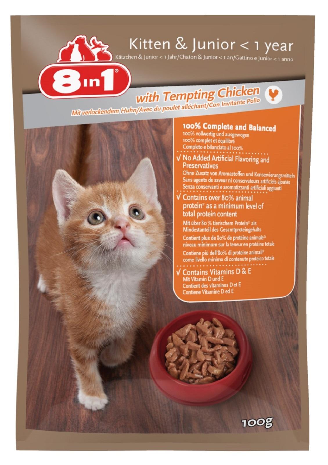 8in1 Katzenfutter Nassfutter für junge  Katzen  Huhn  100 g