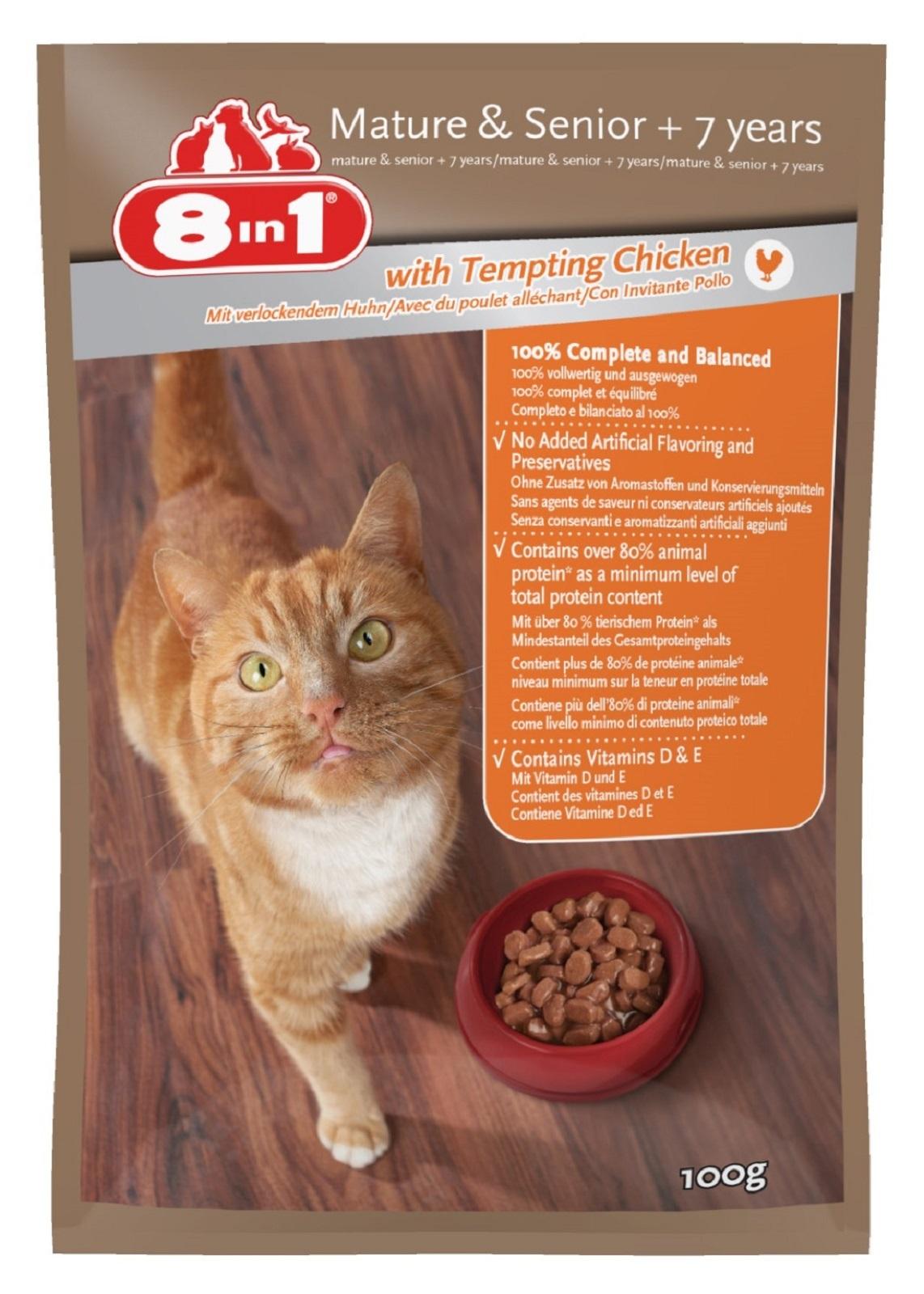 8in1 Katzenfutter Nassfutter für  Katzen Senior  ab 7 Jahre  Huhn 100 g