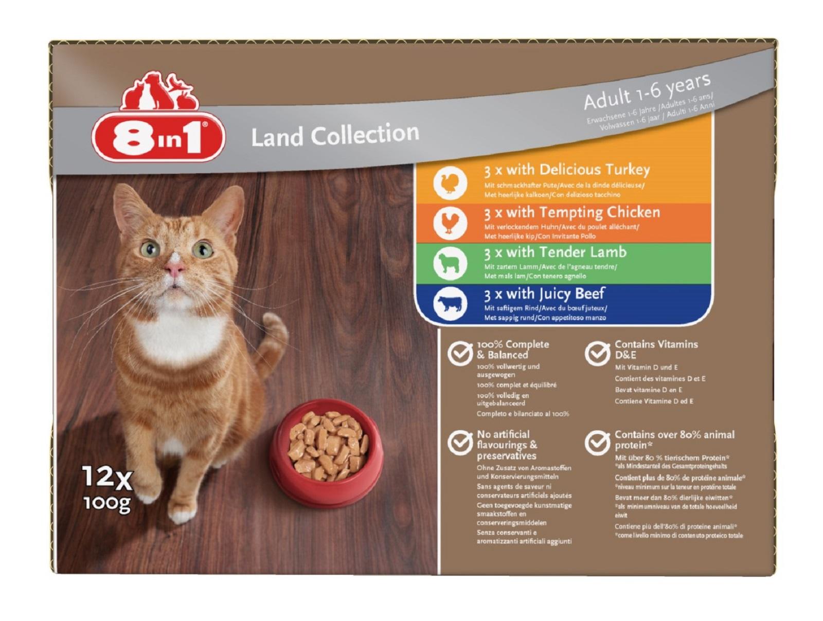 8in1 Katzenfutter Nassfutter für erwachsene Katzen  Fleisch 12 x 100 g