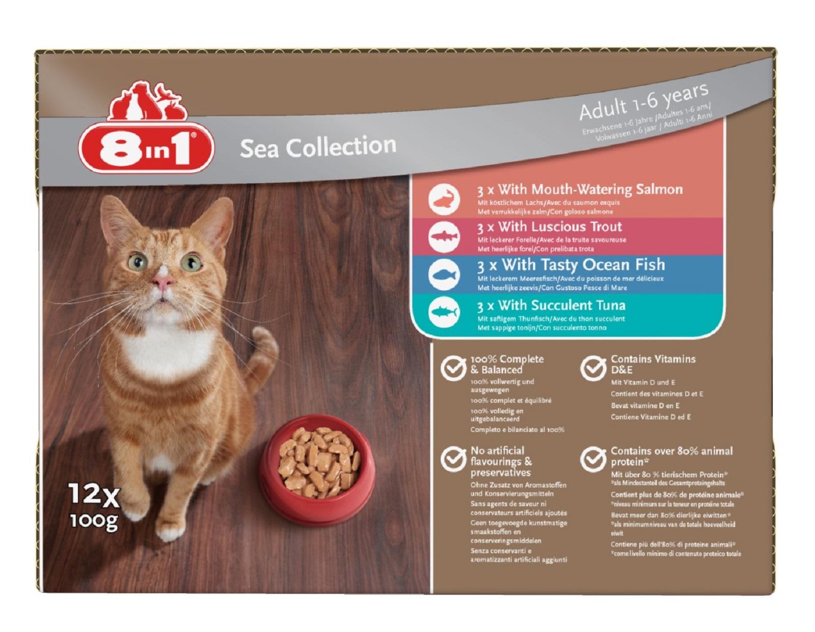 8in1 Katzenfutter Nassfutter für erwachsene Katzen  Fisch 12 x 100 g