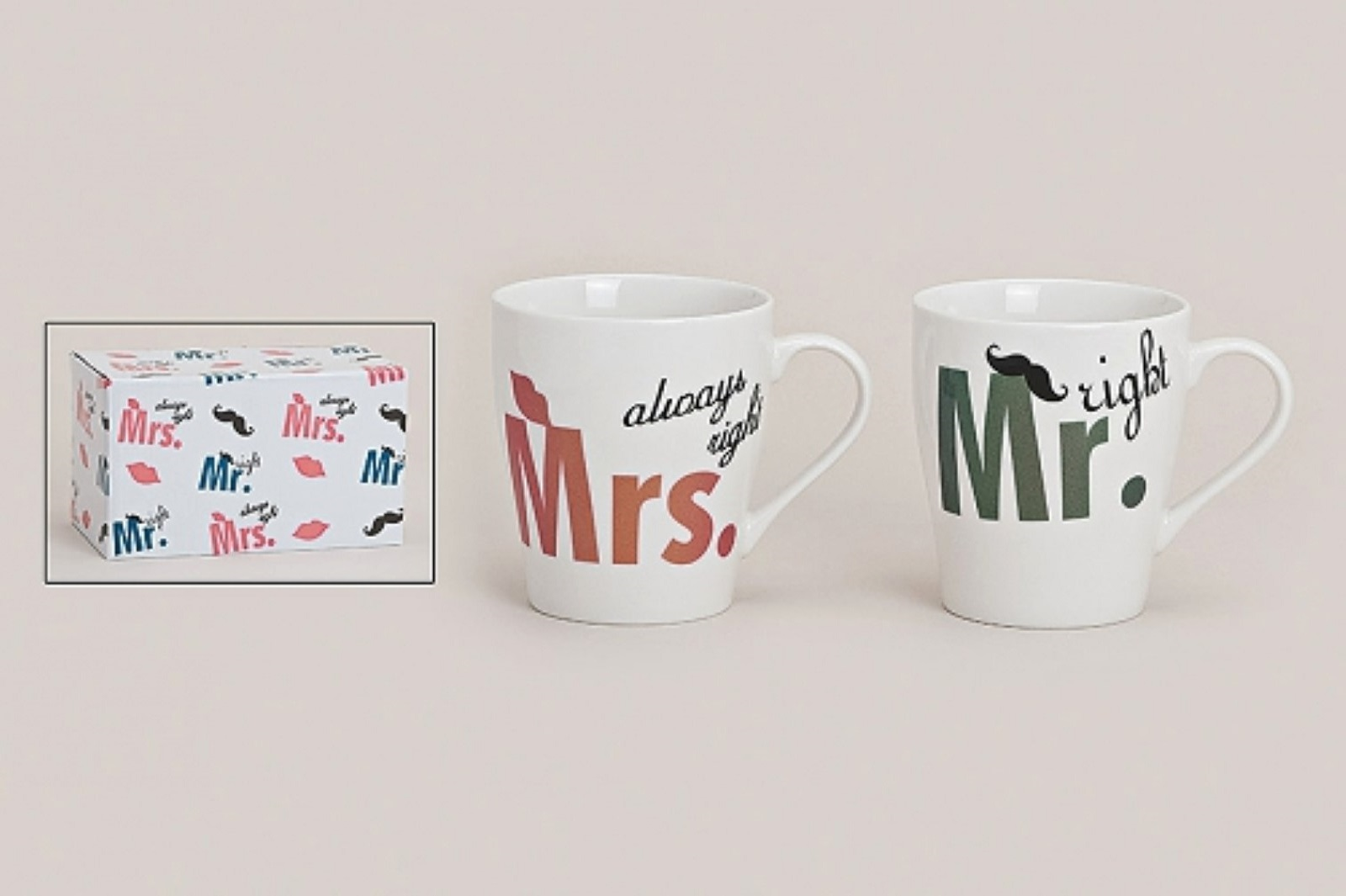 2 er Set Becher Mr. Right  Mrs. Always Right Porzellan Hochzeit Geschenk
