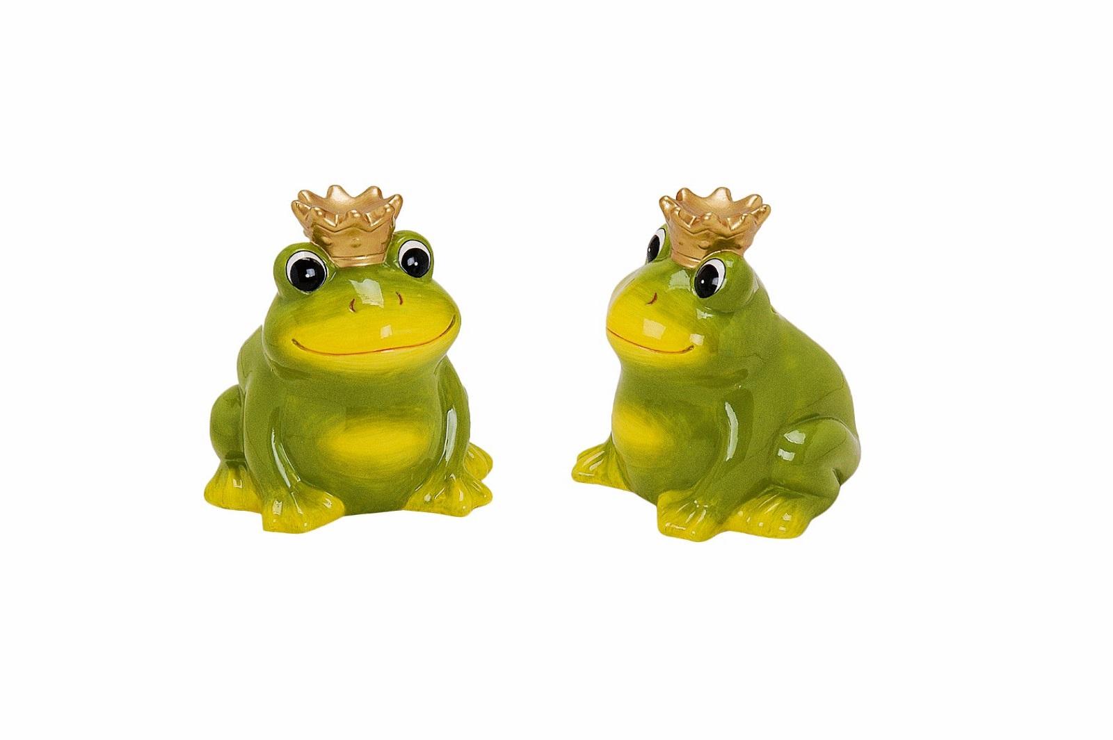 Spardose Frosch mit Krone aus Keramik